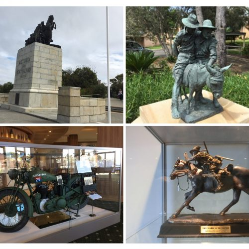 Q ANZAC Light Horse Memorial Albany WA, Simpson & his Donkey, Cliff Stevens Delivery bike, Charge at Beersheba